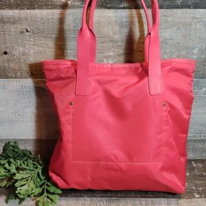 J.CREW red nylon tote with leather handles